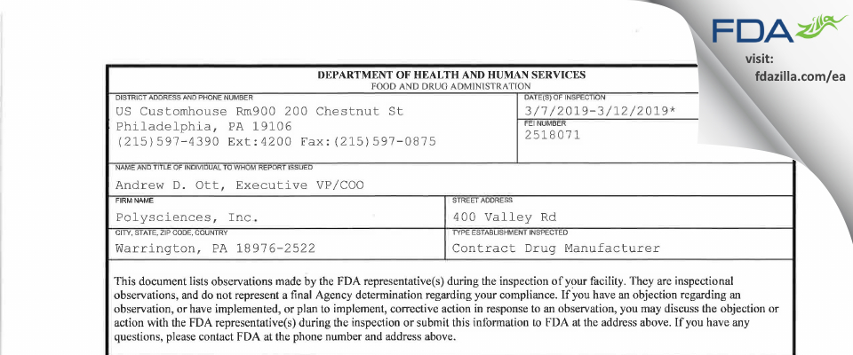 Polysciences FDA inspection 483 Mar 2019