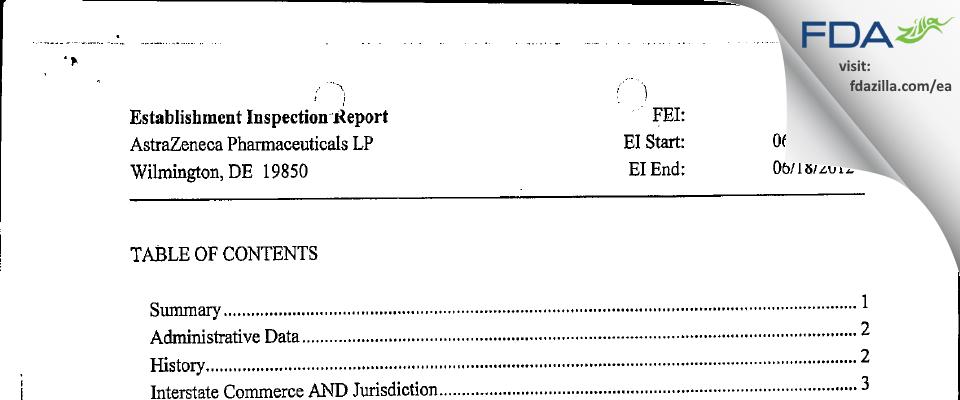 AstraZeneca Pharmaceuticals LP FDA inspection 483 Jun 2012