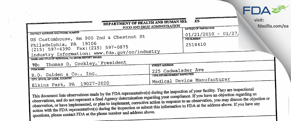 R.o. Gulden & Dba Gulden Ophthalmics FDA inspection 483 Jan 2010