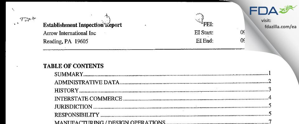 Arrow International FDA inspection 483 Sep 2003