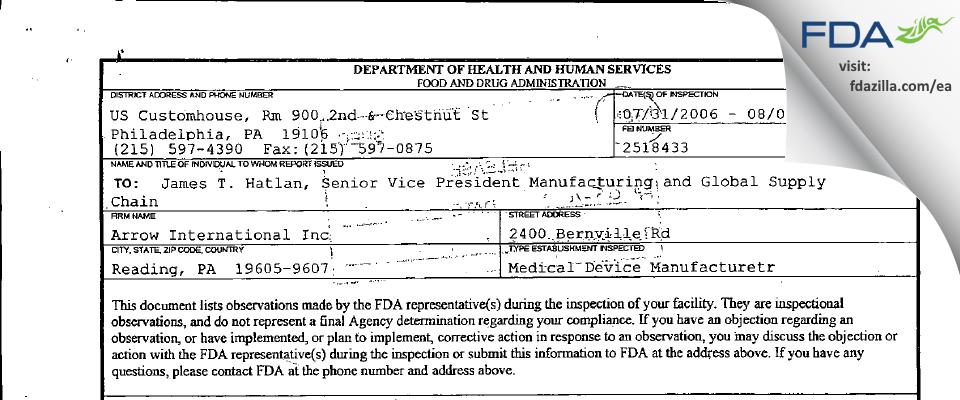 Arrow International FDA inspection 483 Aug 2006