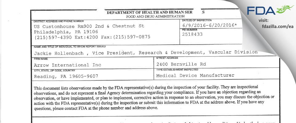 Arrow International FDA inspection 483 Jun 2016