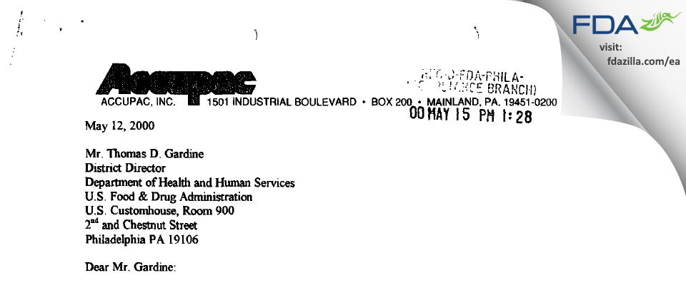 Accupac FDA inspection 483 Apr 2000