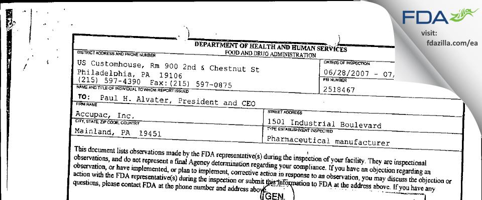 Accupac FDA inspection 483 Jul 2007