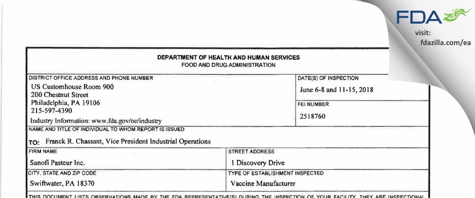 Sanofi Pasteur FDA inspection 483 Jun 2018