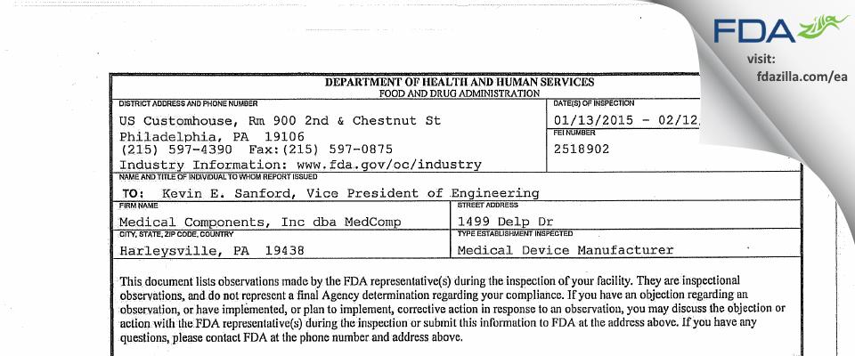 Medical Components dba MedComp FDA inspection 483 Feb 2015