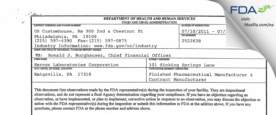 Hercon Pharmaceuticals FDA inspection 483 Jul 2011