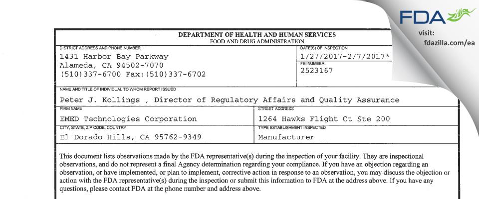 EMED Technologies FDA inspection 483 Feb 2017