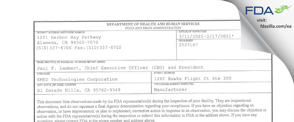 EMED Technologies FDA inspection 483 Mar 2021