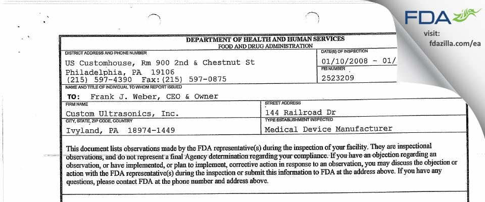 Custom Ultrasonics FDA inspection 483 Jan 2008