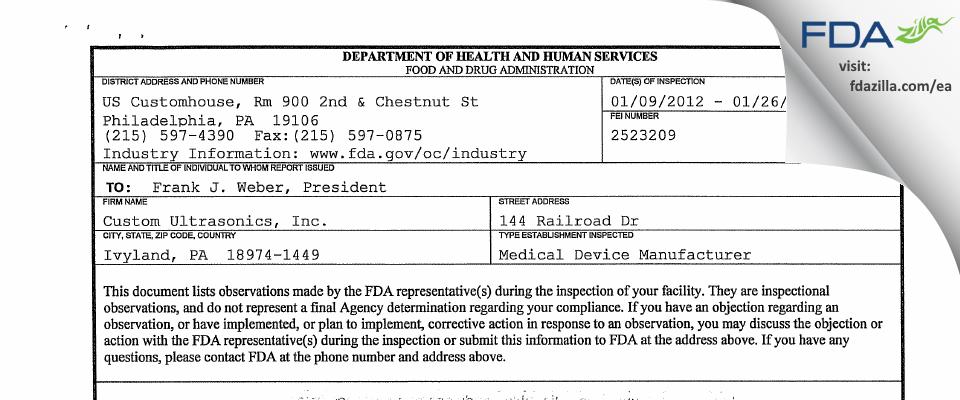 Custom Ultrasonics FDA inspection 483 Jan 2012