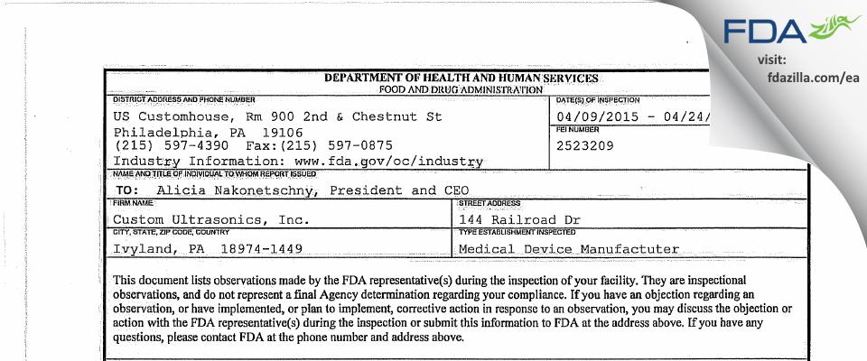 Custom Ultrasonics FDA inspection 483 Apr 2015