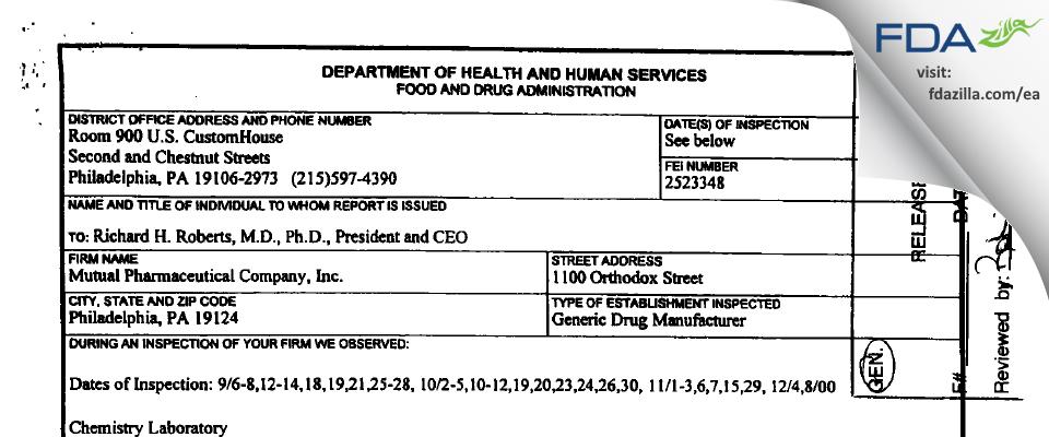 Frontida BioPharm FDA inspection 483 Dec 2000