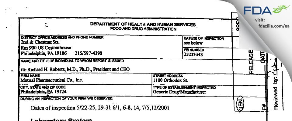 Frontida BioPharm FDA inspection 483 Jul 2001