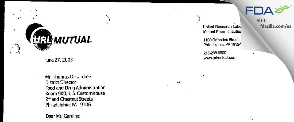Frontida BioPharm FDA inspection 483 May 2003