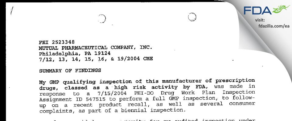 Frontida BioPharm FDA inspection 483 Jul 2004
