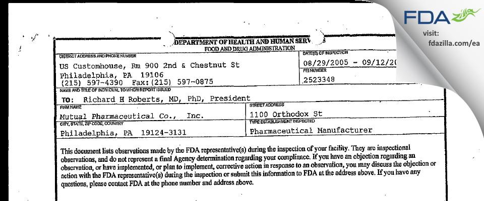 Frontida BioPharm FDA inspection 483 Sep 2005