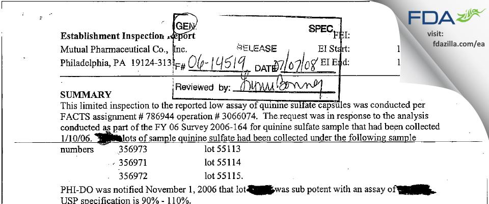 Frontida BioPharm FDA inspection 483 Nov 2006
