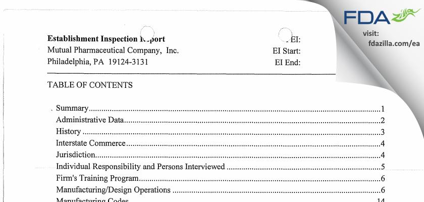 Frontida BioPharm FDA inspection 483 Jun 2009