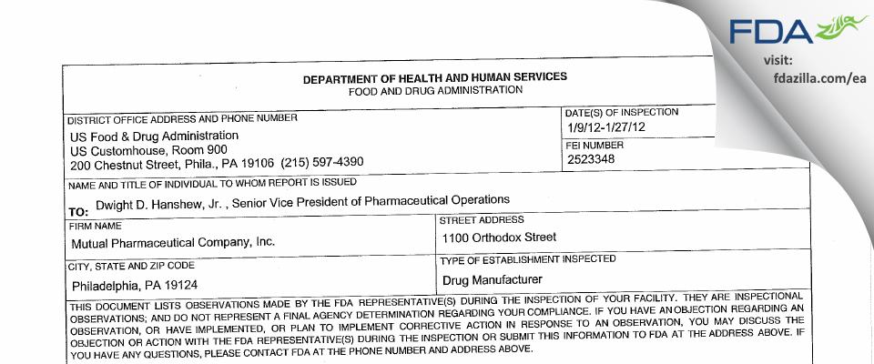 Frontida BioPharm FDA inspection 483 Jan 2012