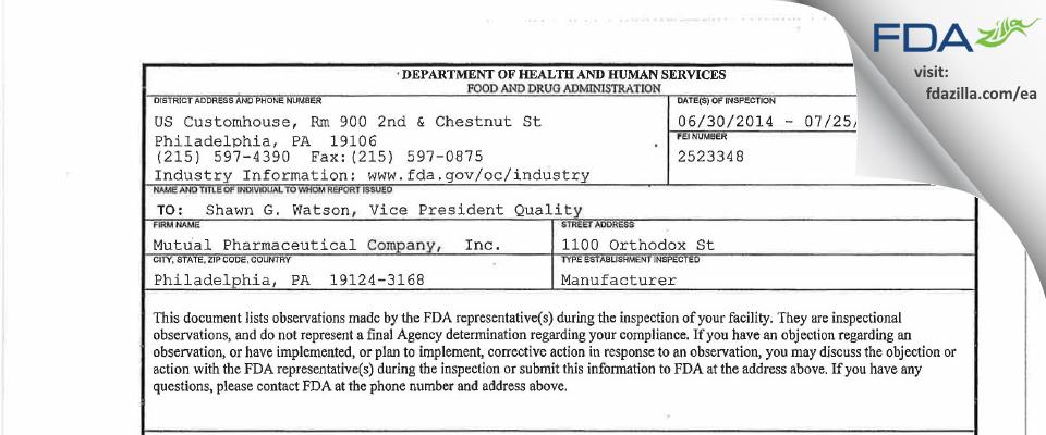 Frontida BioPharm FDA inspection 483 Jul 2014
