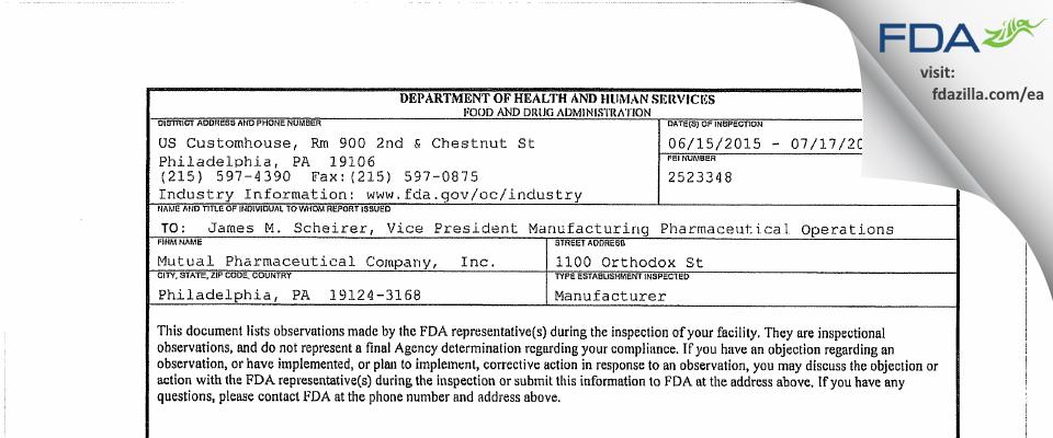 Frontida BioPharm FDA inspection 483 Jul 2015