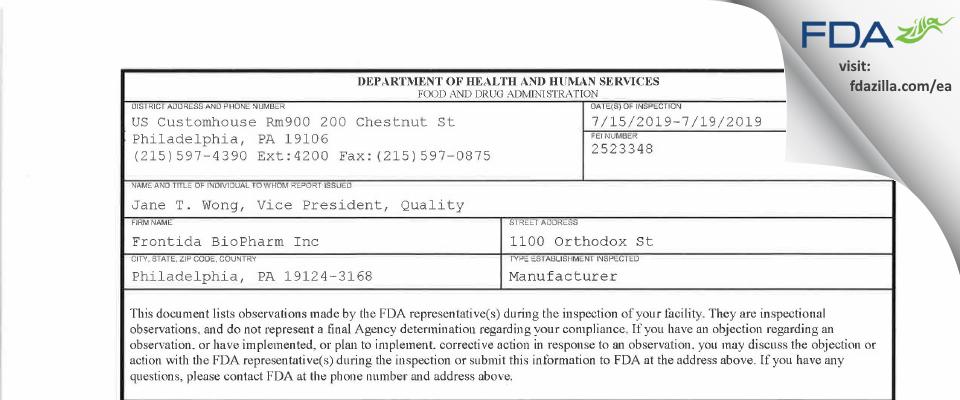 Frontida BioPharm FDA inspection 483 Jul 2019