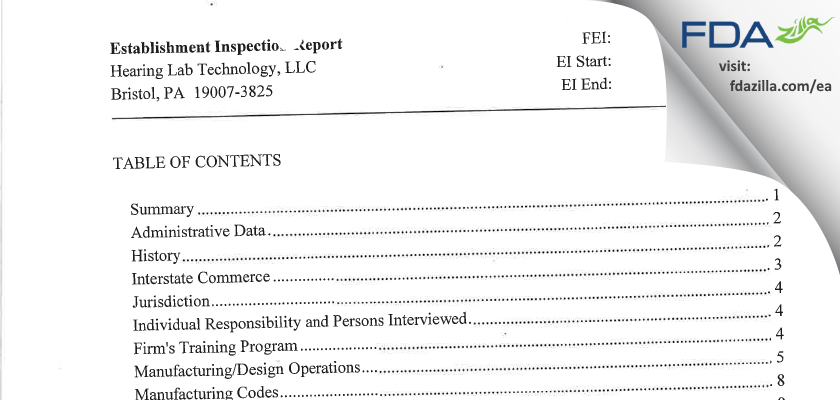 Hearing Lab Technology FDA inspection 483 Sep 2014