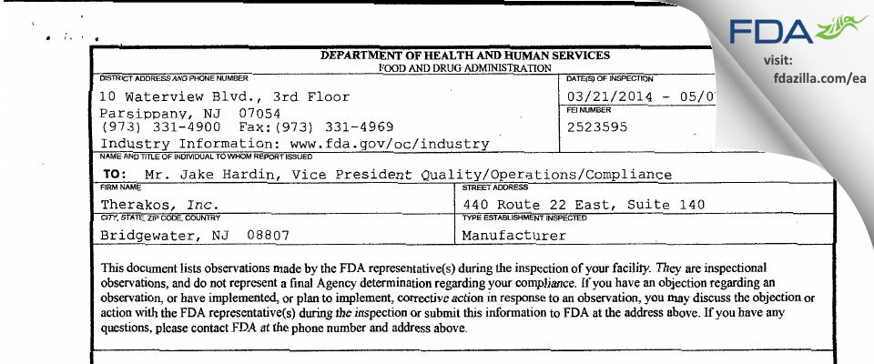 Therakos FDA inspection 483 May 2014