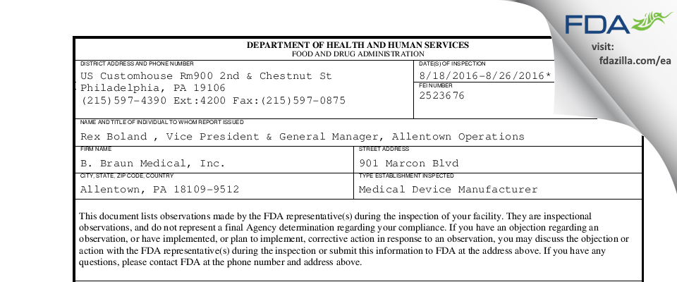 B. Braun Medical FDA inspection 483 Aug 2016