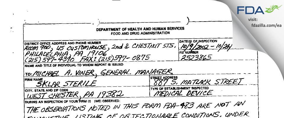 Sklar Instruments FDA inspection 483 Oct 2002