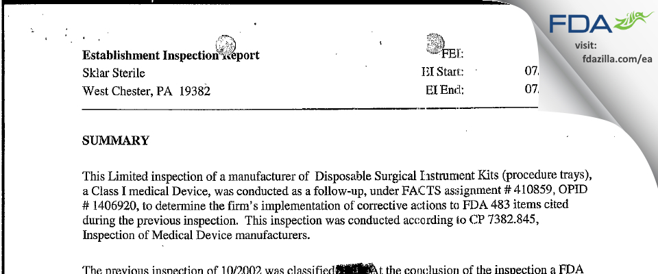 Sklar Instruments FDA inspection 483 Jul 2003