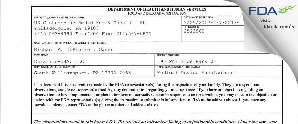 Duralife-USA FDA inspection 483 Feb 2017