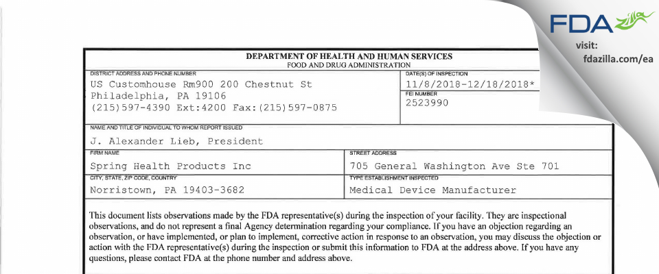 Spring Health Products FDA inspection 483 Dec 2018