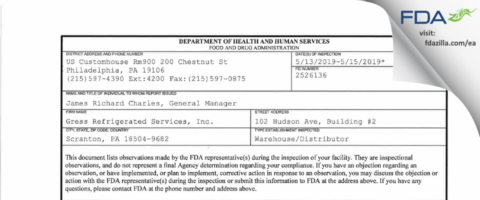 Gress Refrigerated Services FDA inspection 483 May 2019