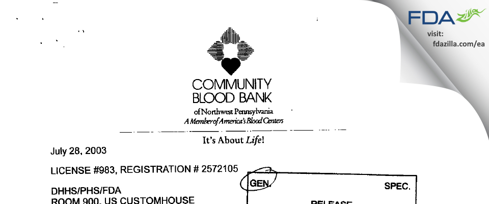 Community Blood Bank of Erie County FDA inspection 483 Jun 2003