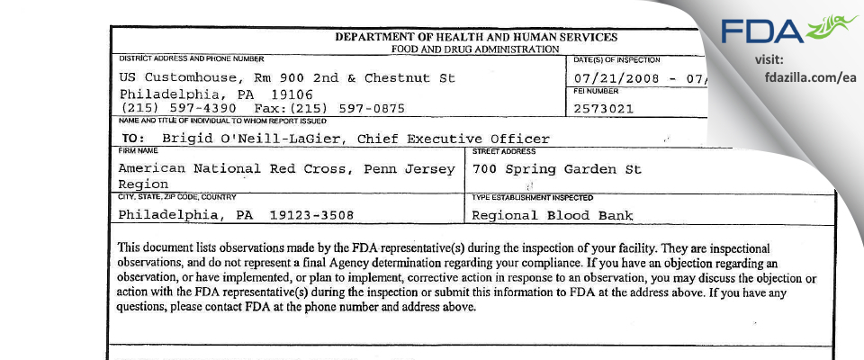 American National Red Cross, Penn Jersey Region FDA inspection 483 Jul 2008