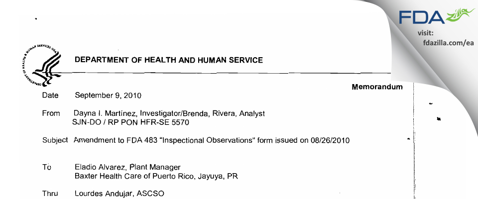 Baxter Healthcare FDA inspection 483 Aug 2010