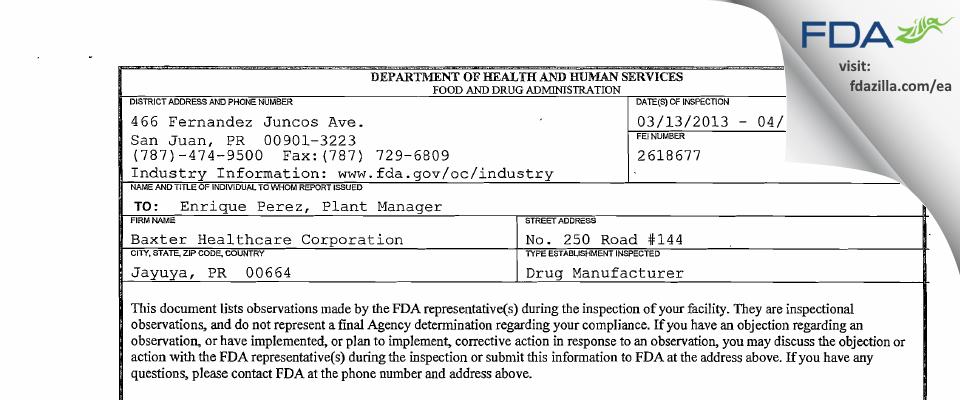 Baxter Healthcare FDA inspection 483 Apr 2013