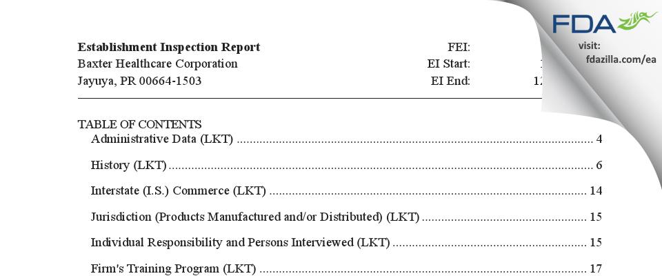 Baxter Healthcare FDA inspection 483 Dec 2018