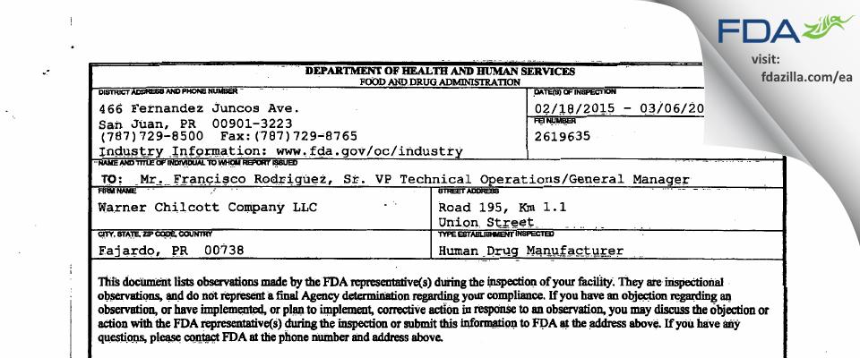 Teva Puerto Rico FDA inspection 483 Mar 2015