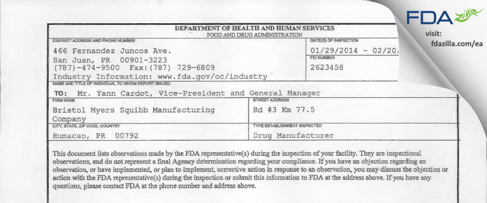 Bristol Myers Squibb Manufacturing Company FDA inspection 483 Feb 2014