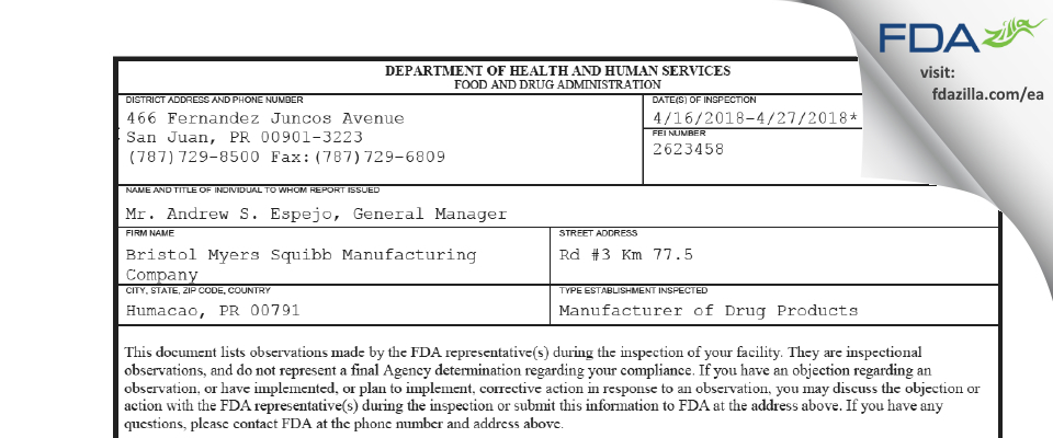Bristol Myers Squibb Manufacturing Company FDA inspection 483 Apr 2018
