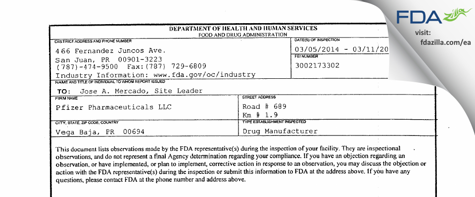 Pfizer Pharmaceuticals FDA inspection 483 Mar 2014