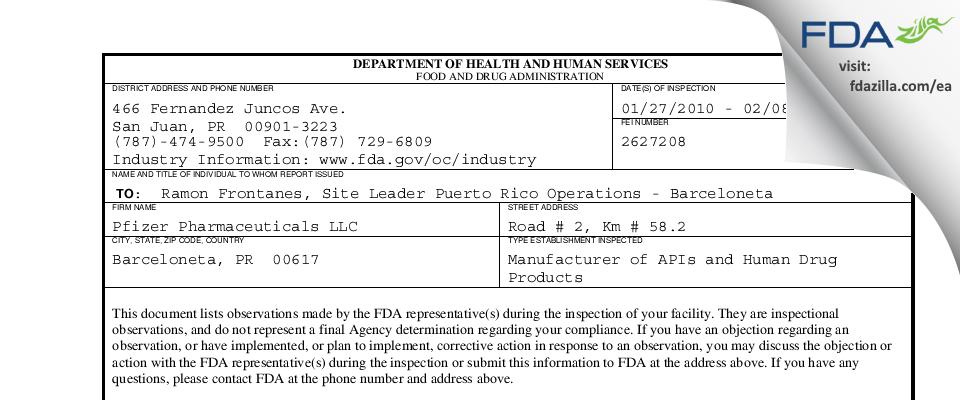 Pfizer Pharmaceuticals FDA inspection 483 Feb 2010