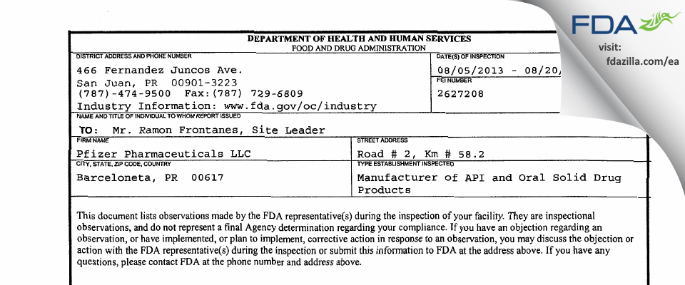 Pfizer Pharmaceuticals FDA inspection 483 Aug 2013
