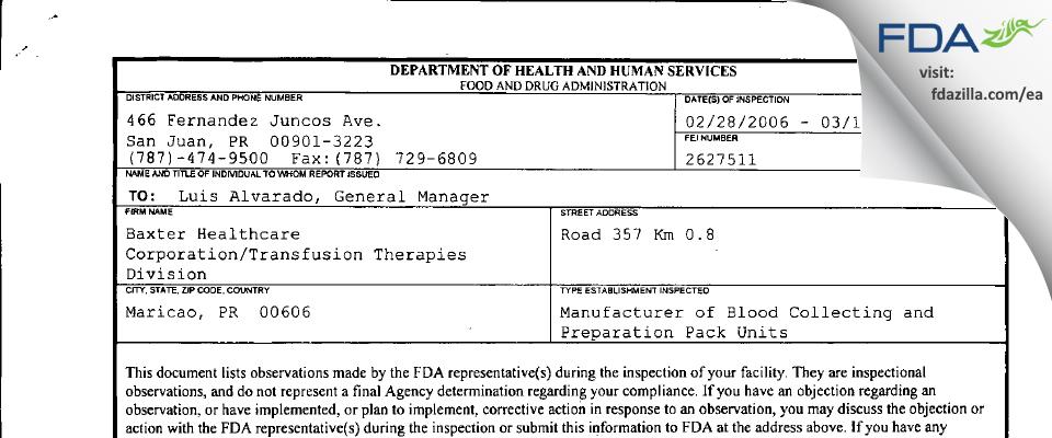 Fenwal International FDA inspection 483 Mar 2006