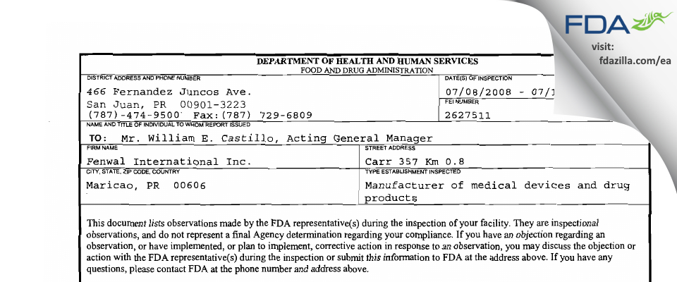 Fenwal International FDA inspection 483 Jul 2008