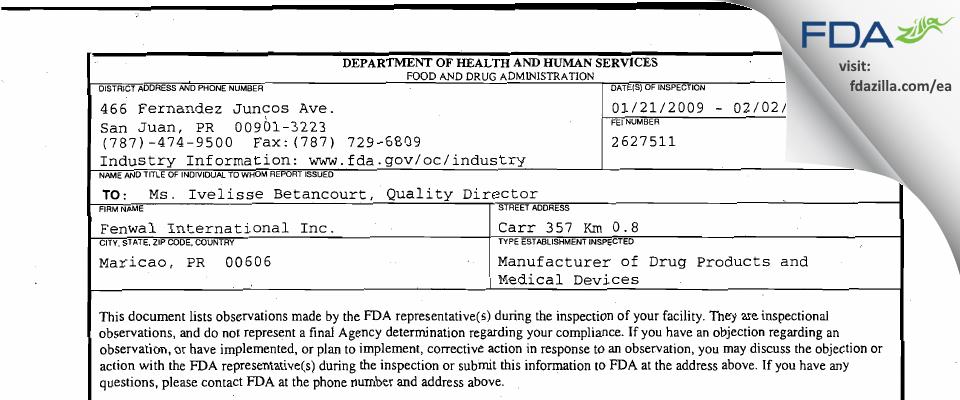 Fenwal International FDA inspection 483 Feb 2009