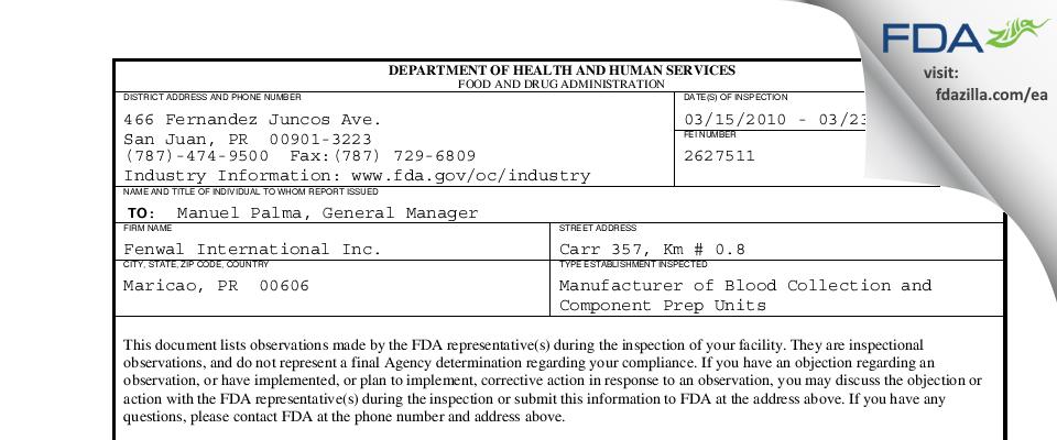 Fenwal International FDA inspection 483 Mar 2010